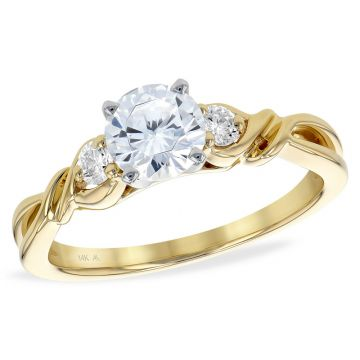Allison Kaufman 14k Yellow Gold Diamond 3 Stone Semi-Mount Engagement Ring