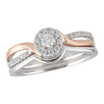 Allison Kaufman Two Tone 14k Gold Diamond Criss Cross Bridal Set