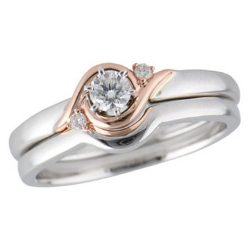 Allison Kaufman Two Tone 14k Gold Diamond 3 Stone Bridal Set