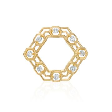 "Gumuchian Honeycomb ""B"" 18k Yellow Gold Hair Jewel"