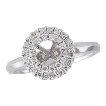Allison Kaufman 14k White Gold Diamond Double Halo Semi-Mount Engagement Ring