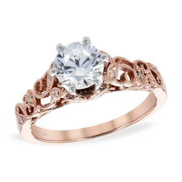 Allison Kaufman 14k Rose Gold Vintage Semi-Mount Engagement Ring