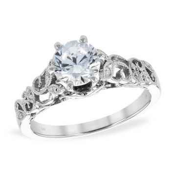 Allison Kaufman 14k White Gold Vintage Semi-Mount Engagement Ring