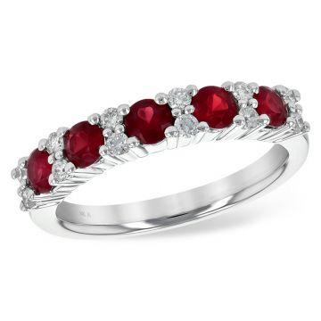 Allison Kaufman 14k White Gold Diamond & Gemstone Wedding Band