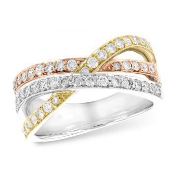 Allison Kaufman Tri Color 14k Gold Diamond Wedding Band