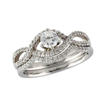 Allison Kaufman 14k White Gold Diamond Criss Cross Bridal Set