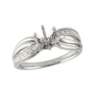 Allison Kaufman 14k White Gold Diamond Split Shank Semi-Mount Engagement Ring
