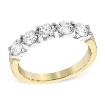 Allison Kaufman Two Tone 14k Gold Diamond Anniversay Wedding Band