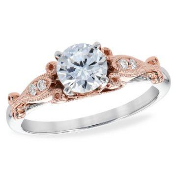 Allison Kaufman Two Tone 14k Gold Diamond Vintage Semi-Mount Engagement Ring