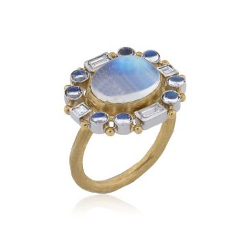 Lika Behar 24k Yellow Gold and 22k Gold Diamond and Gemstone Enamel Ring