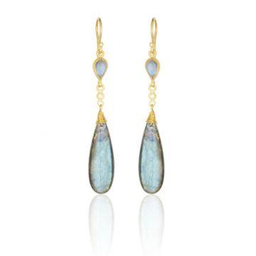 Lika Behar 24k Yellow Gold Diamond and Gemstone Drop Earrings