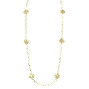 Gumuchian 18k Yellow Gold Diamond Tiny Hearts Cushion Motif Link Necklace