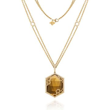 "Gumuchian Honeybee ""B"" 18k Yellow Gold Citrine & Diamond Hexagon Medallion Pendant"