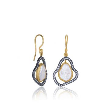 Lika Behar 24k Two Tone Gold and Sterling Silver Diamond and Pearl Earrings
