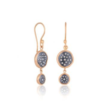 Lika Behar 22k Rose Gold and Sterling Silver Diamond Earrings
