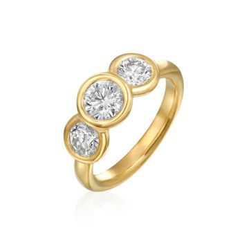 Gumuchian 18k Yellow Gold Women's 3 Stone Diamond Engagement Ring
