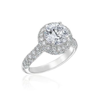 Gumuchian Bridal 18k White Gold Diamond Halo Semi-Mount Engagement Ring