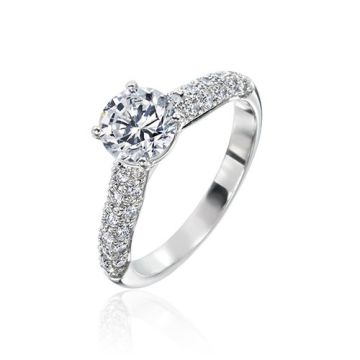 Gumuchian Bridal 18k White Gold Diamond Straight Semi-Mount Engagement Ring