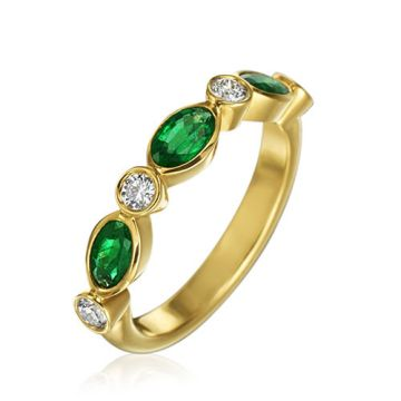 Gumuchian Marbella 18k Yellow Gold Diamond Emerald Stackable Ring