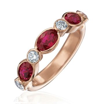 Gumuchian 18k Rose Gold Diamond & Ruby Stackable Ring