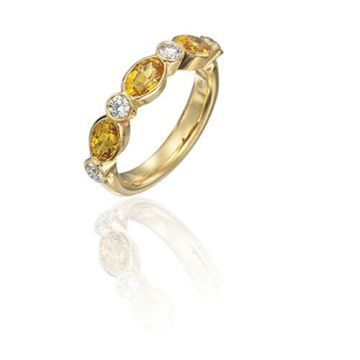 Gumuchian Marbella 18k Yellow Gold Diamond Sapphire Stackable Ring