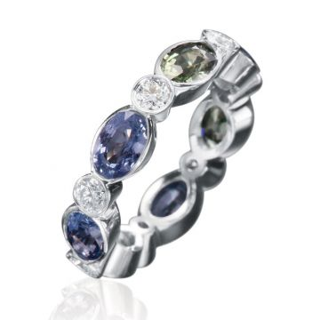 Gumuchian Marbella 18k White Gold Diamond Sapphire Stackable Ring