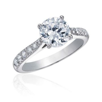 Gumuchian Bridal 18k White Gold Cinderella Diamond Straight Semi-Mount Engagement Ring