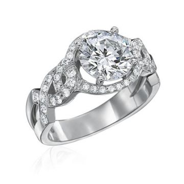 Gumuchian Bridal Platinum Diamond Criss Cross Semi-Mount Engagement Ring