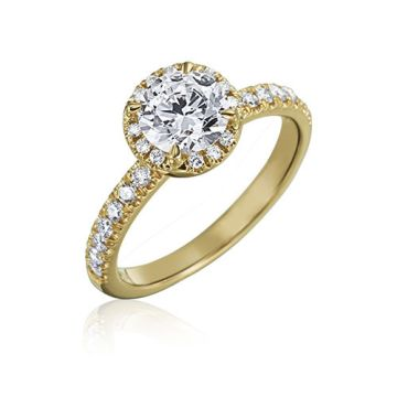 Gumuchian Bridal 18k Yellow Gold Cinderella Diamond Halo Semi-Mount Engagement Ring