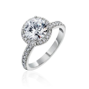 Gumuchian Bridal 18k White Gold Cinderella Diamond Halo Semi-Mount Engagement Ring