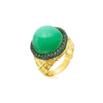 Gumuchian 18k Yellow Gold Pistachio Ice Cream Diamond and Gemstone Ring