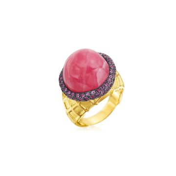 Gumuchian 18k Yellow Gold Strawberry Ice Cream Diamond and Gemstone Ring