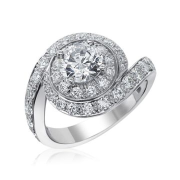 Gumuchian Bridal Platinum Bypass Swirl Diamond Semi-Mount Engagement Ring