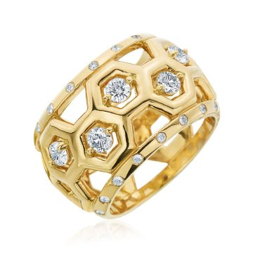 "Gumuchian Honeybee ""B"" 18k Yellow Gold Diamond Ring"