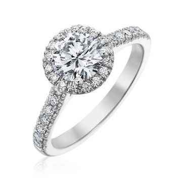 Gumuchian Bridal Platinum Cinderella Diamond Halo Semi-Mount Engagement Ring