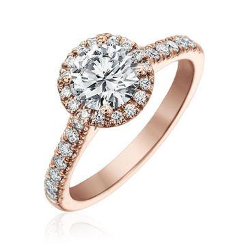 Gumuchian Bridal 18k Rose Gold Cinderella Diamond Halo Semi-Mount Engagement Ring