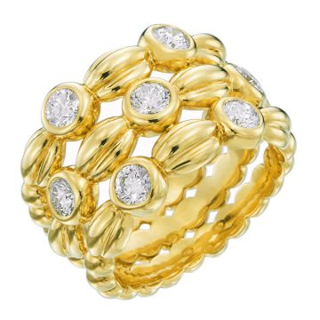 Gumuchian Nutmeg 18k Yellow Gold Alternating Diamond Three Row Ring