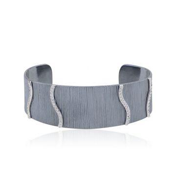 Lika Behar 18k White Gold and Sterling Silver Diamond Cuff Bracelet