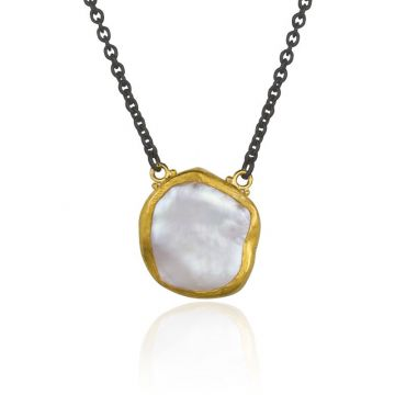 Lika Behar 24k Yellow Gold & Oxidized Sterling Silver Pearl Necklace