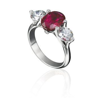 Gumuchian Twinset Platinum Grand Three Stone Diamond Ruby Engagement Ring