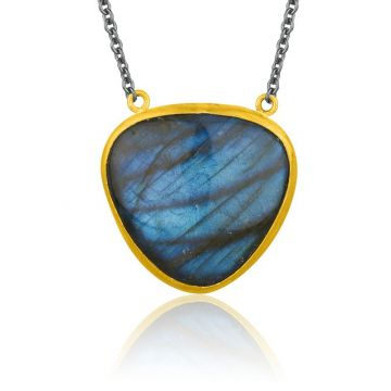 Lika Behar 24k Two Tone Gold and Sterling Silver Gemstone Necklace
