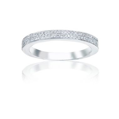 14k White Gold Imagine Bridal Two Row Diamond Pave Wedding Band