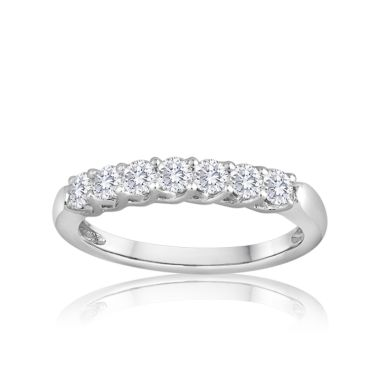 14K White Gold Imagine Bridal Seven Diamond Shared Prong Weave Band