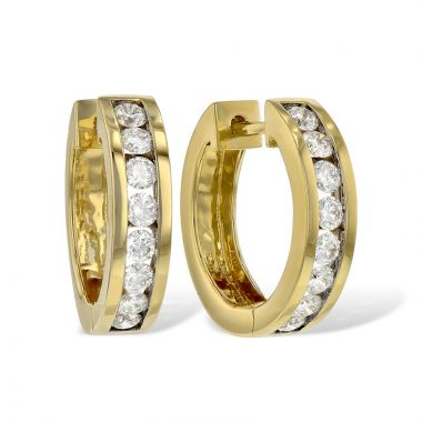 Allison Kaufman 14k Yellow Gold Diamond Hoop Earrings