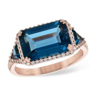 Allison Kaufman 14k Rose Gold Gemstone & Diamond Ring