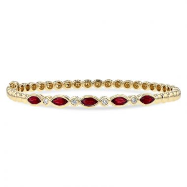 Allison Kaufman 14k Yellow Gold Gemstone & Diamond Bracelet