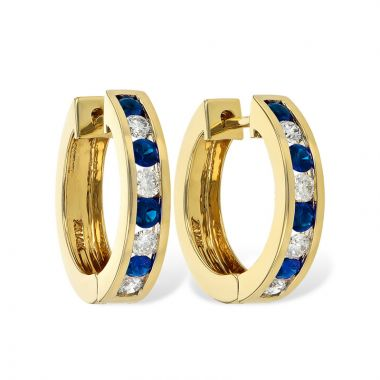 Allison Kaufman 14k Yellow Gold Gemstone & Diamond Hoop Earrings