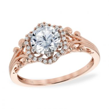 Allison Kaufman 14k Rose Gold Diamond Vintage Semi-Mount Engagement Ring