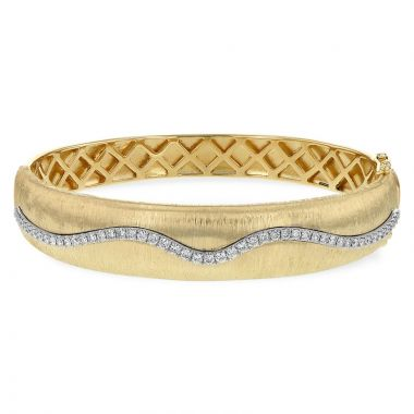 Allison Kaufman Two Tone 14k Gold Diamond Bangle Bracelet