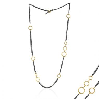 Lika Behar 24k Two Tone Gold and Sterling Silver Necklace